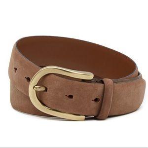 Bosca Brown Leather Nubuck Belt Size 34